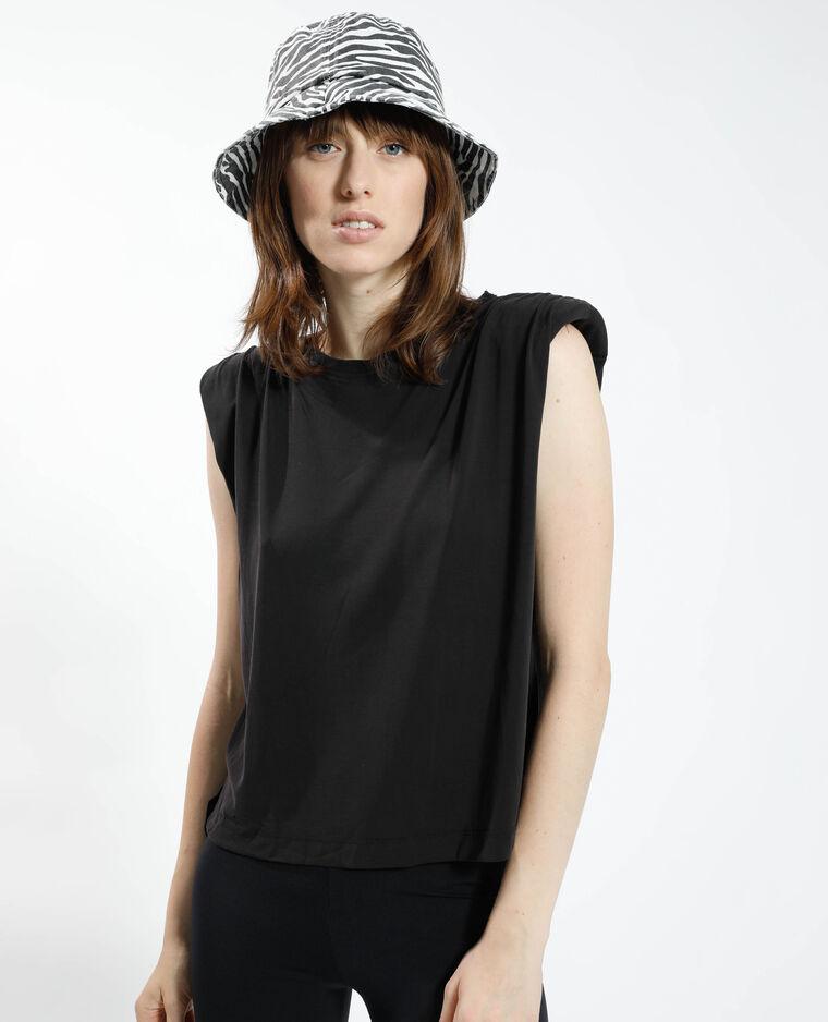 T-shirt à épaulettes noir - Pimkie