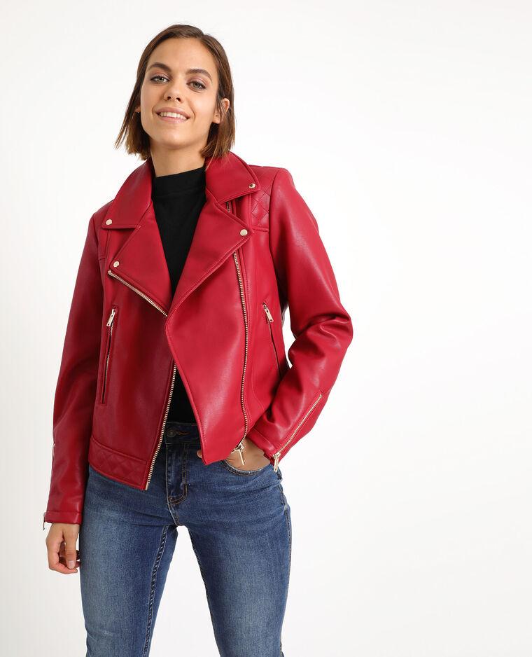 Veste biker en faux cuir rouge