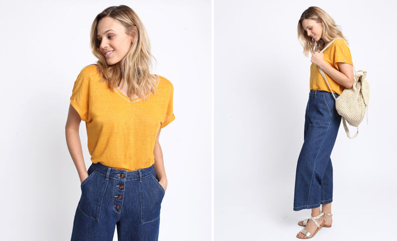 T-shirt 100% lin jaune