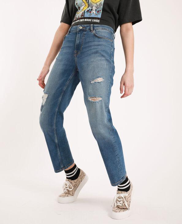 Jean straight mid waist bleu denim
