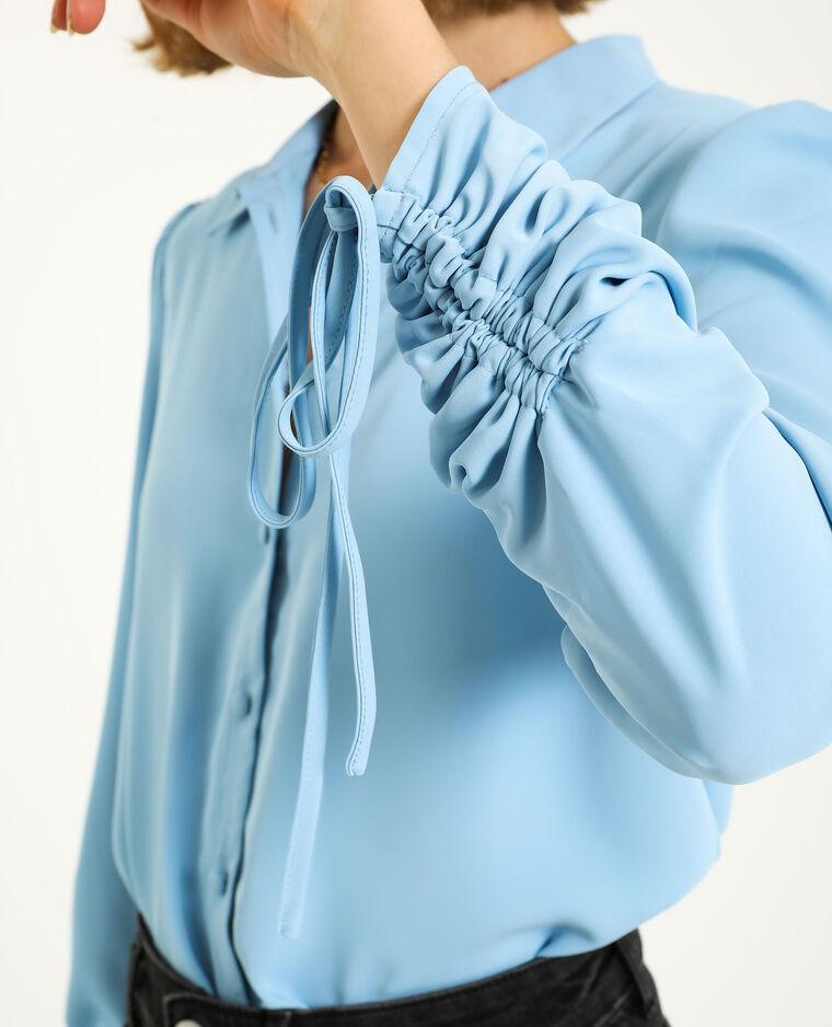 Chemise manches retroussables bleu ciel