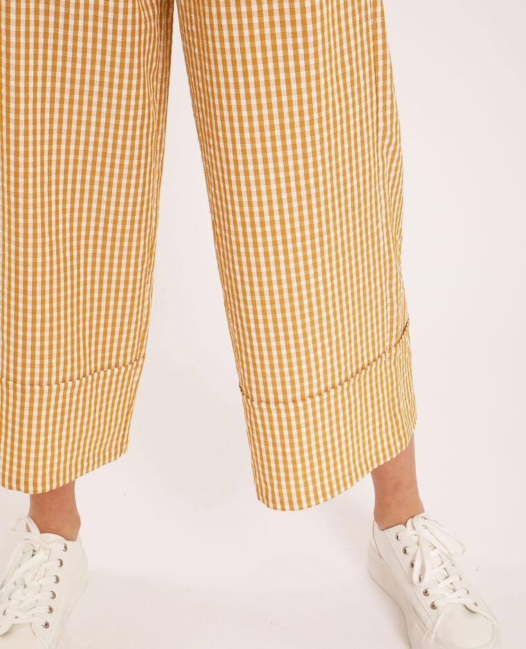 Pantalon large à carreaux jaune