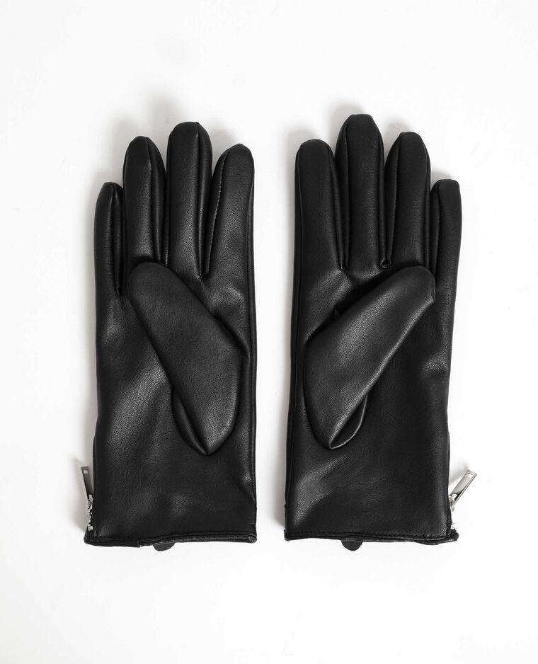 Gants en faux cuir clouté noir