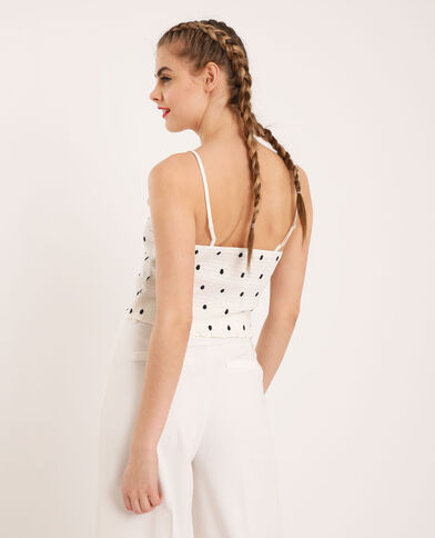 Cropped top à pois blanc