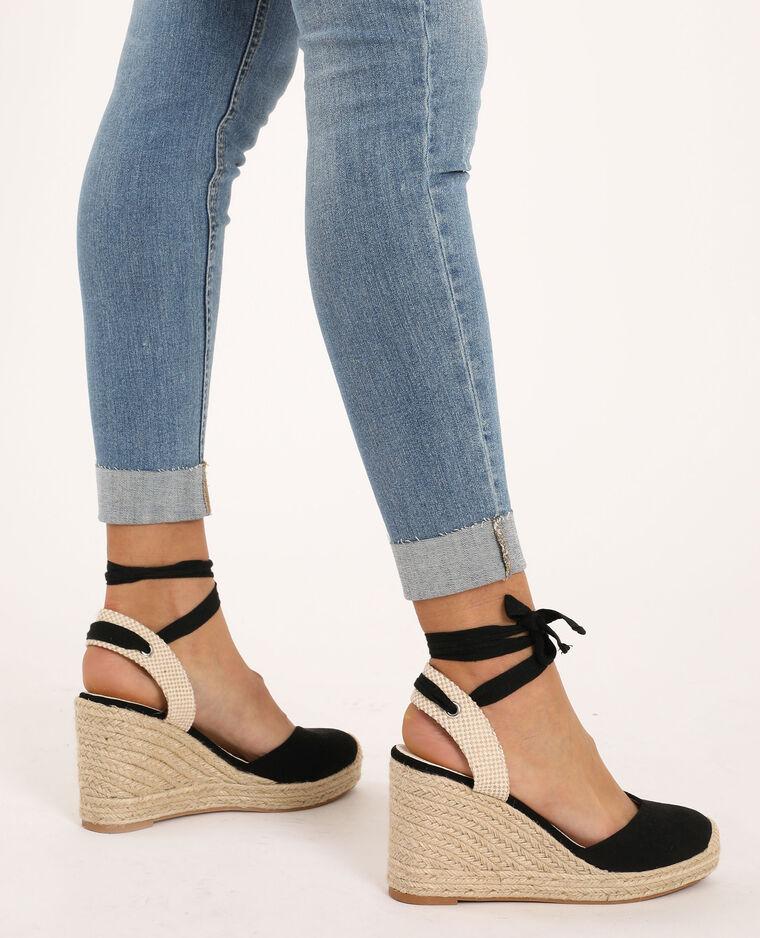 Sandales compensées en paille noir - Pimkie