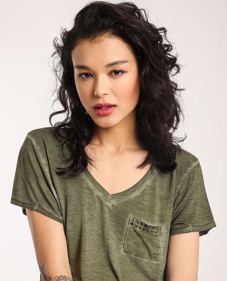 T-shirt à col V vert - Pimkie