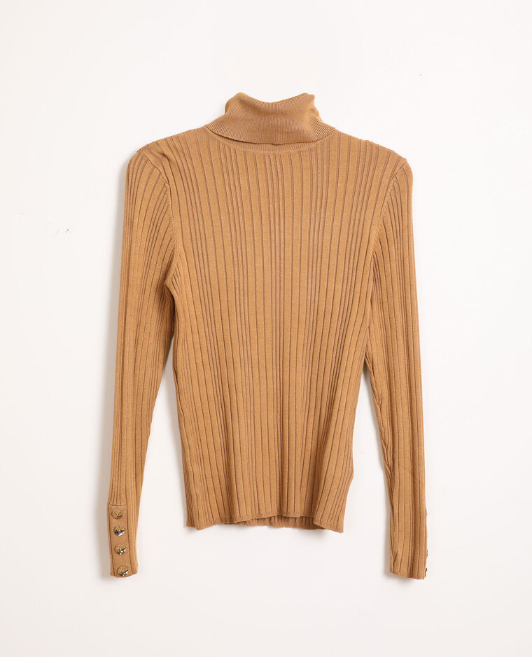 Pull fin col roulé beige sable