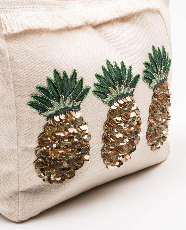 Grand cabas ananas écru