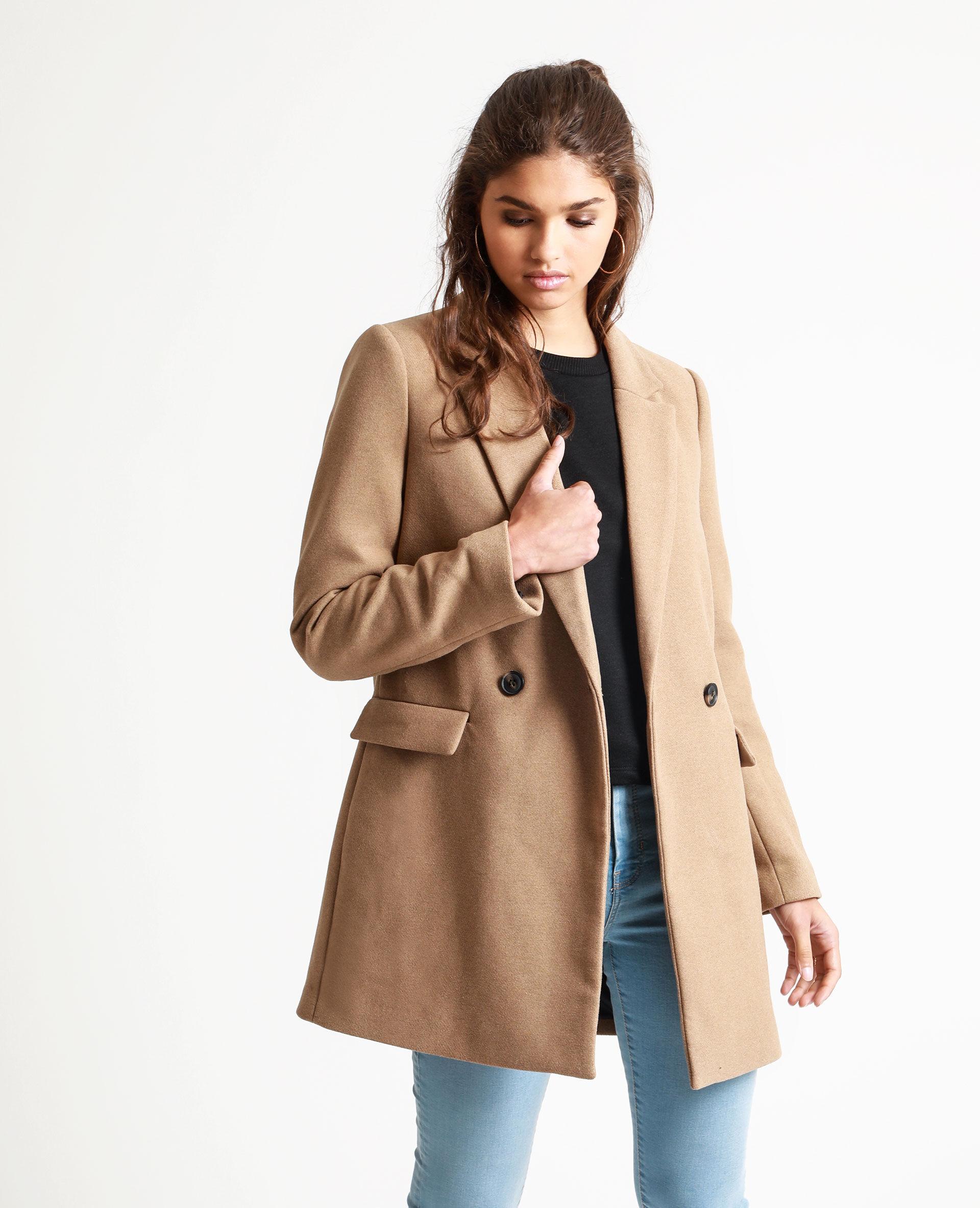 Manteau long avec fourrure femme
