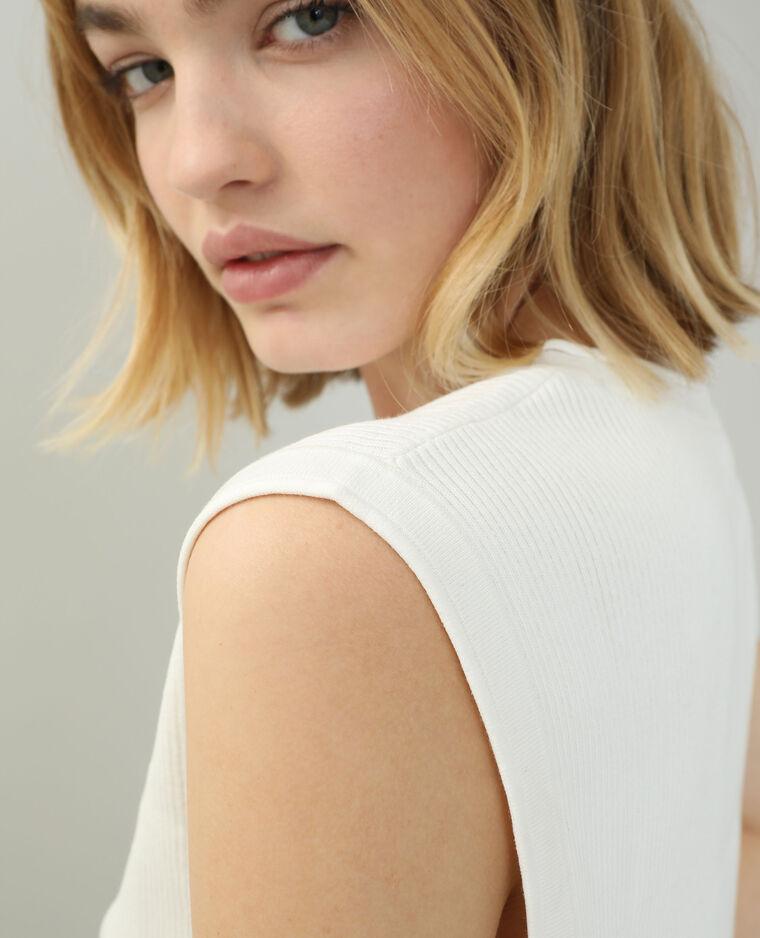 T-shirt tricot blanc cassé - Pimkie