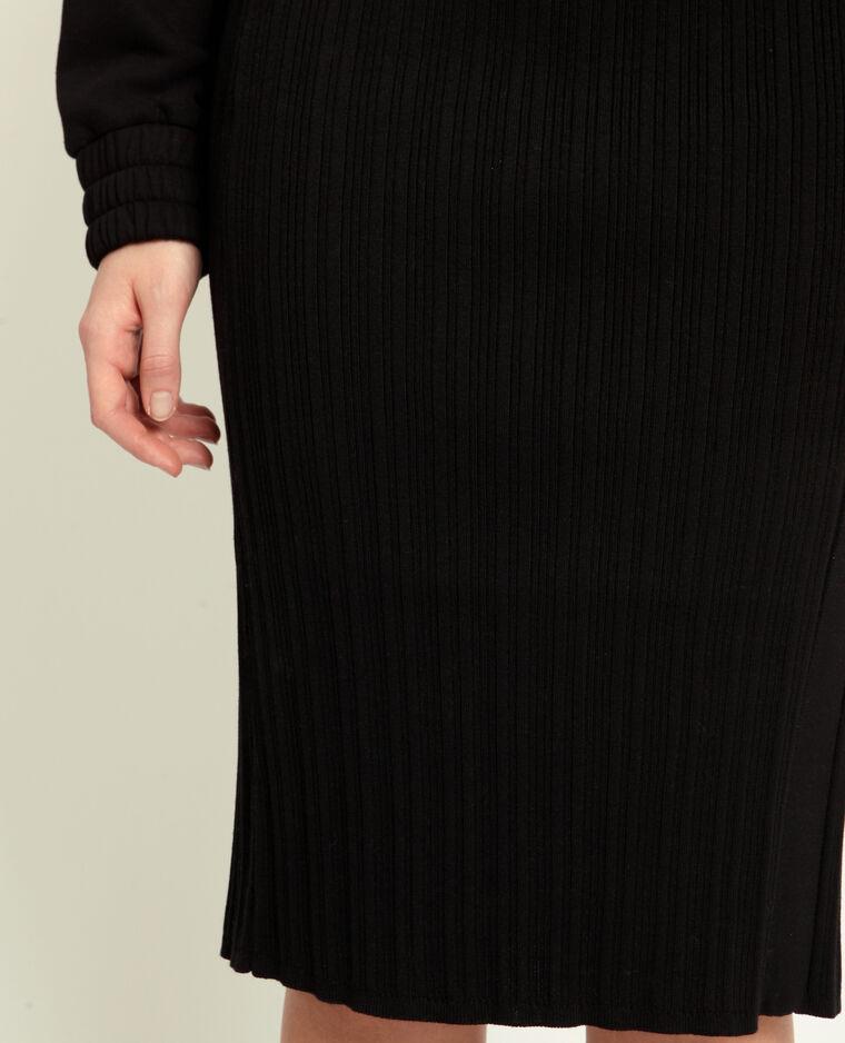 Jupe en maille côtelée noir