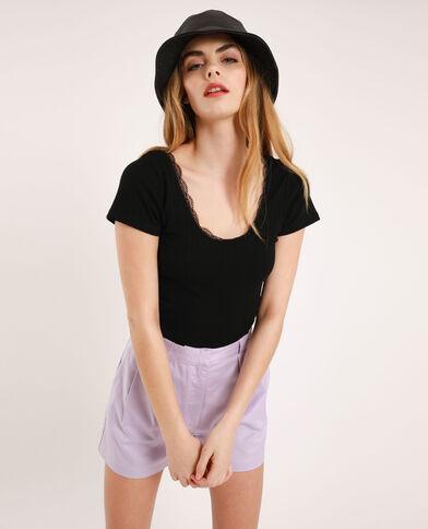 T-shirt cropped à dentelle noir