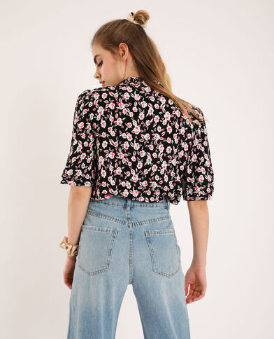 Chemise courte à fleurs noir