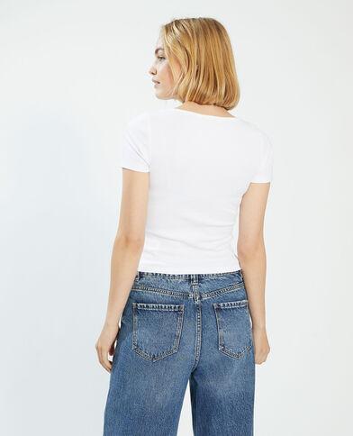 T-shirt basique boutonné blanc - Pimkie