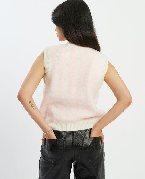 Gilet sans manches à carreaux rose - Pimkie