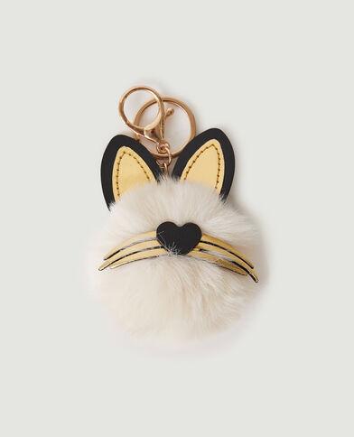 Porte-clé chat beige ficelle - Pimkie