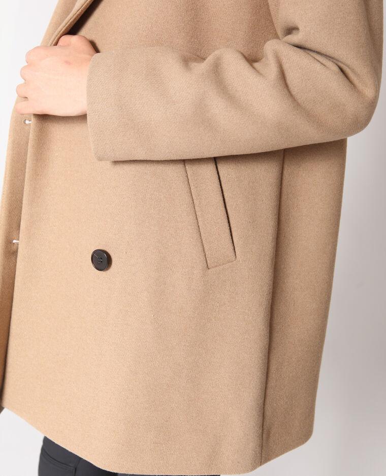 Manteau en laine caramel
