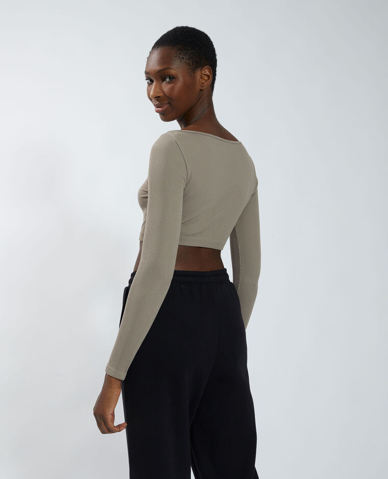 T-shirt cropped sans coutures taupe - Pimkie