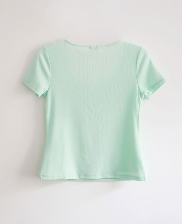 T-shirt décolleté V bleu ciel