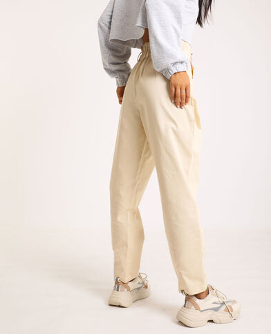 Pantalon city high waist beige ficelle