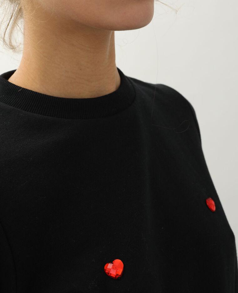 Sweat cœurs noir - Pimkie
