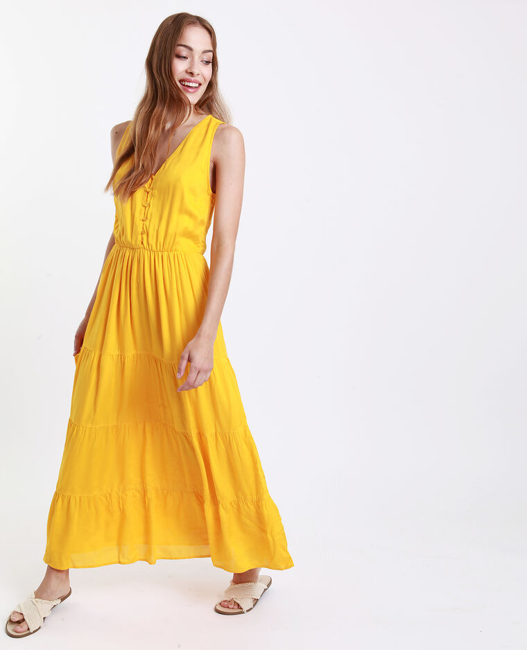 8b42926b831ed Robe longue découpe dos jaune -45% - 781251016A00 | Pimkie