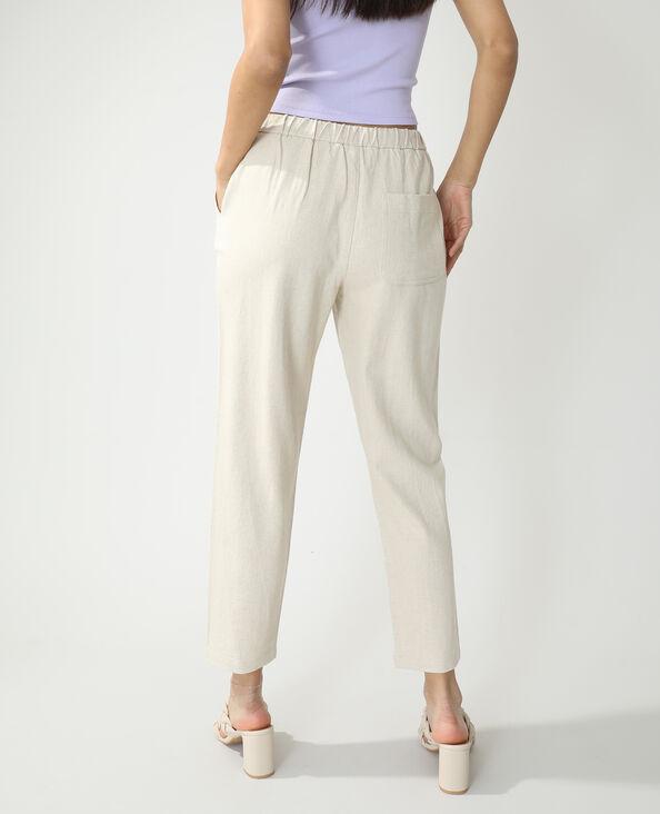 Pantalon jogging avec lin beige - Pimkie