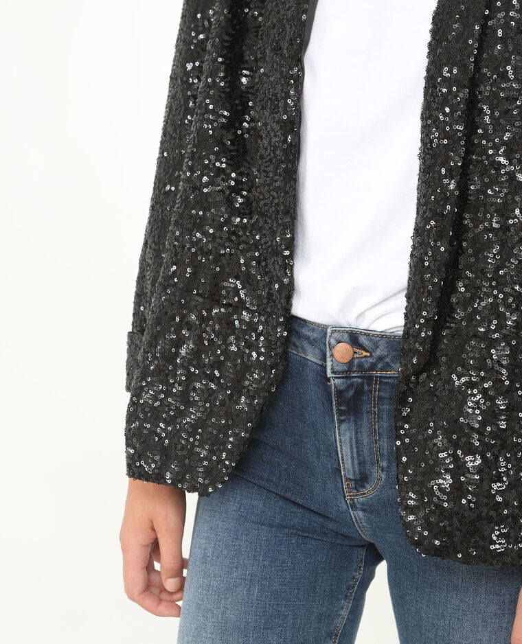 Veste blazer sequins noir