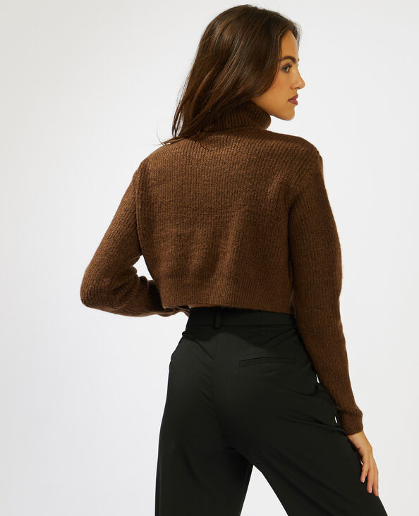Pull cropped marron - Pimkie