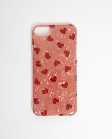 Coque à cœurs compatible iPhone rouge - Pimkie