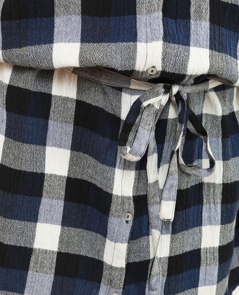 Robe chemise ceinturée bleu marine