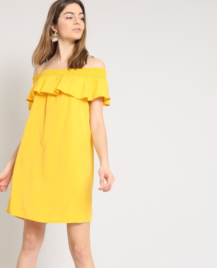 robe col bardot jaune 780866061a00 pimkie. Black Bedroom Furniture Sets. Home Design Ideas
