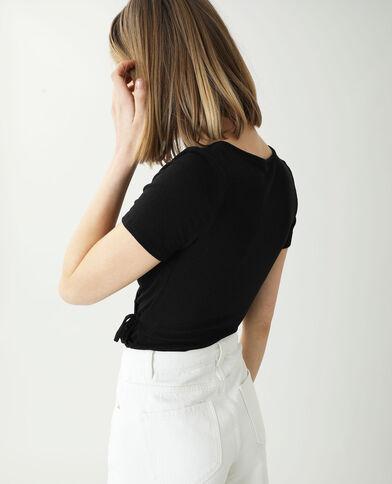 Top côtelé cache-cœur noir