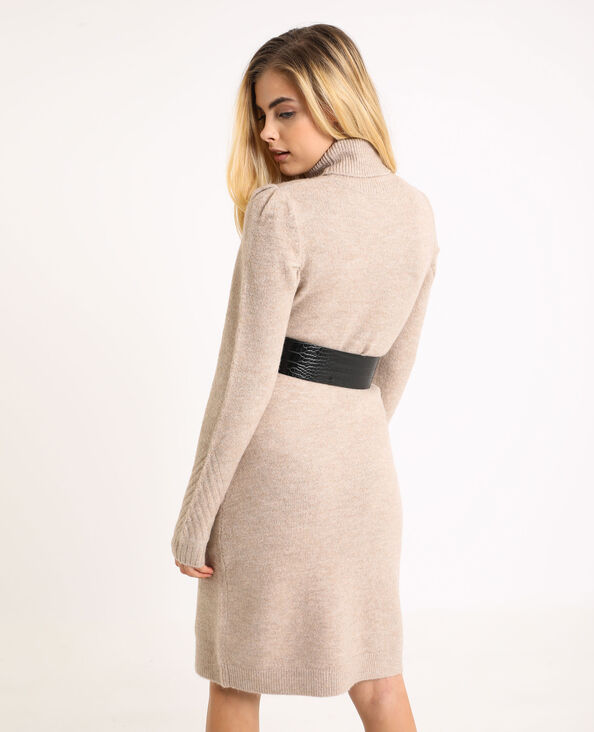 Robe pull col roulé beige