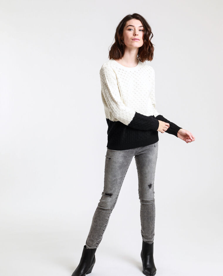 Pull bicolore blanc cassé