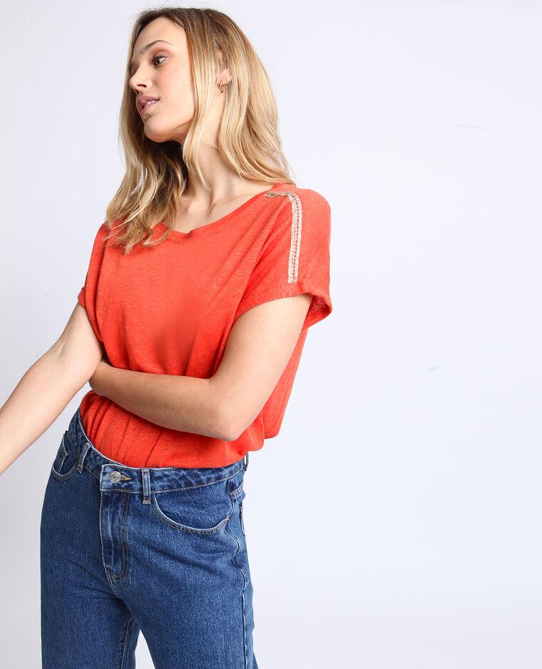 T-shirt à col bateau orange