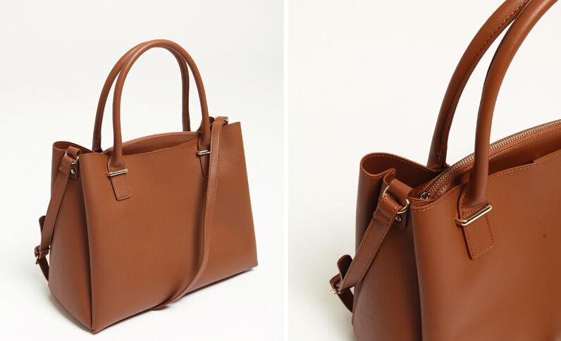 b7012655f7a0b Grand sac en simili cuir caramel