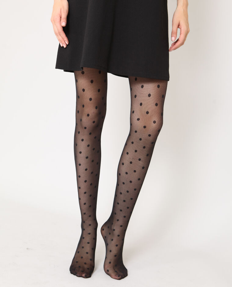 Collants à pois noir
