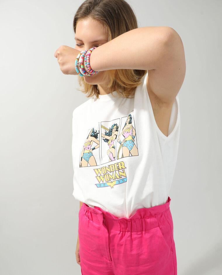 T-shirt à épaulettes Wonder Woman écru - Pimkie