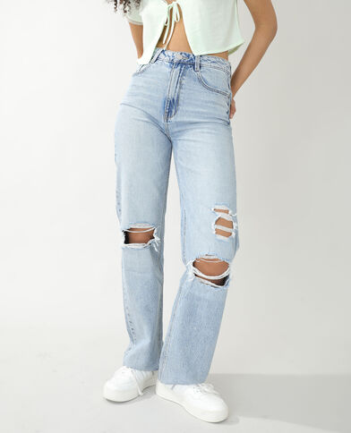 Jean straight high waist destroy bleu clair