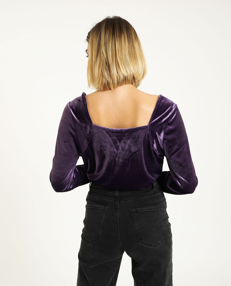 Top velours manches longues prune