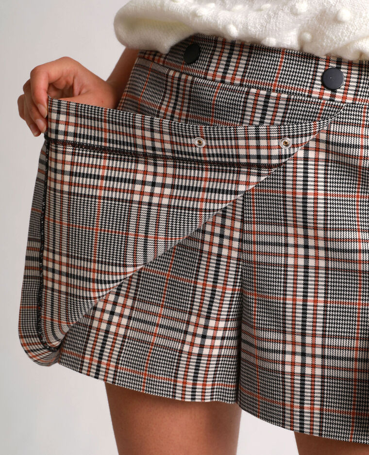 Jupe short à carreaux marron