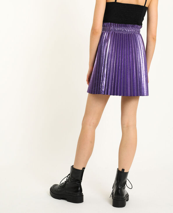 Jupe plissée simili cuir violet
