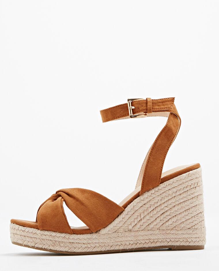 Sandales Compensées En Paille Marron 916449747a07 Pimkie
