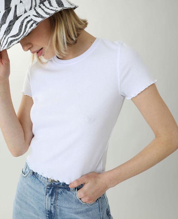 T-shirtcôtelé et volanté blanc - Pimkie