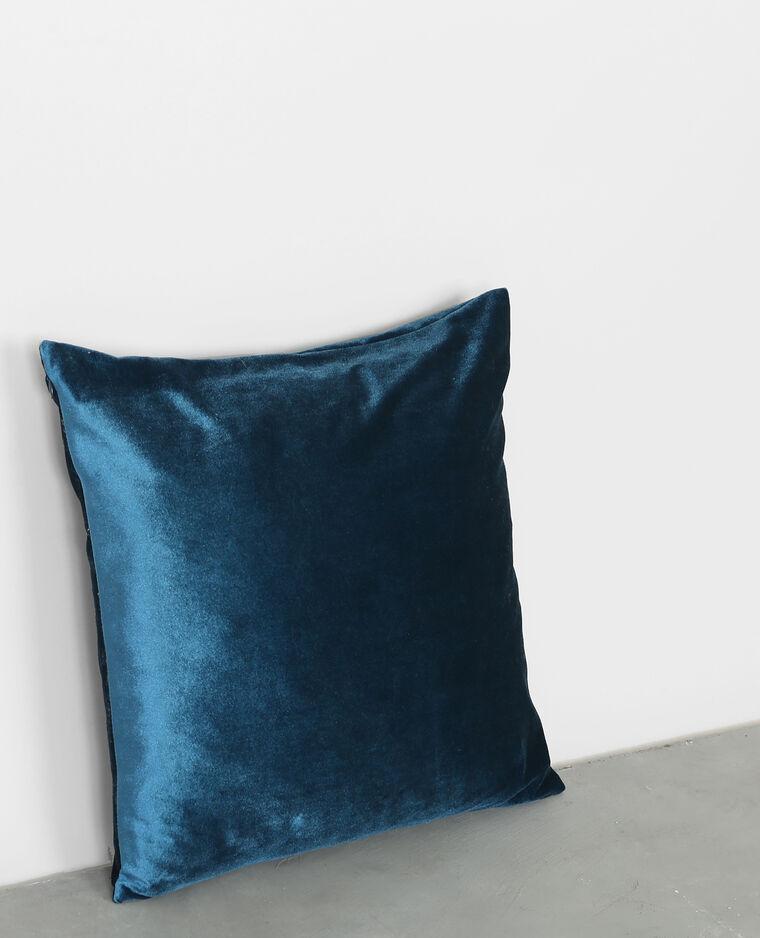 Coussin velours bleu canard