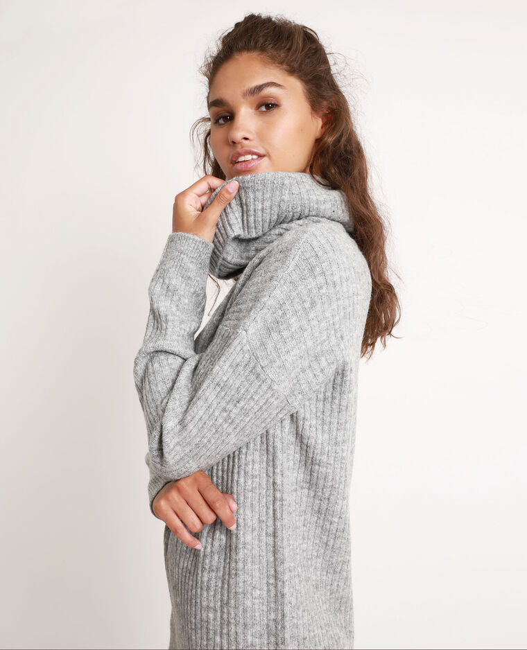Robe pull col chale gris chiné