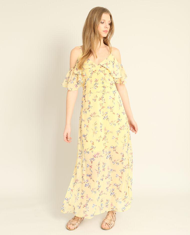 Robe longue fleurie jaune