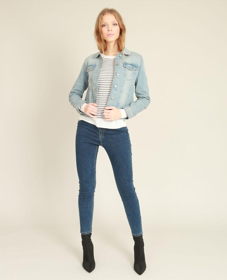 Veste en jean bleu délavé