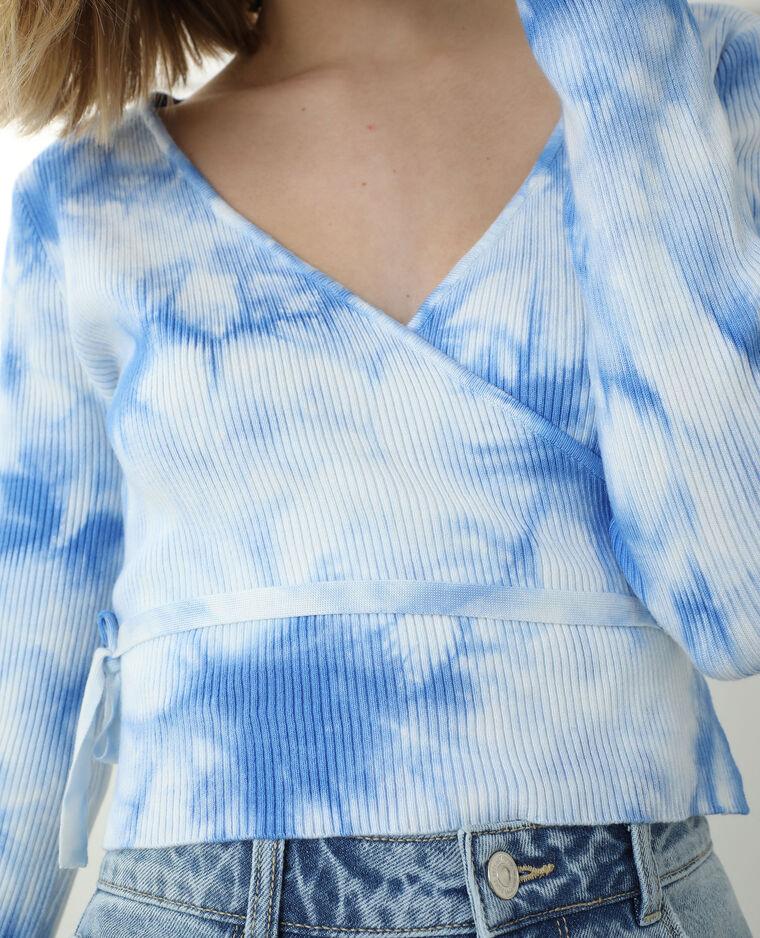 Gilet cache-cœur court bleu - Pimkie